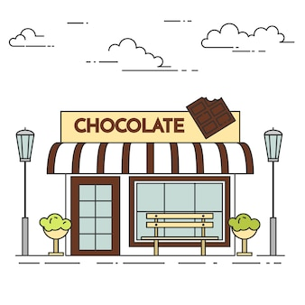 Chocolate cafe with lamps, flowers and bench. vector illustration. line art.