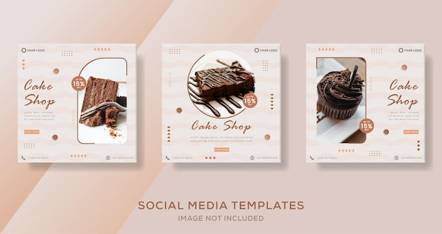 Chocolate cake banner template post for businnes social media