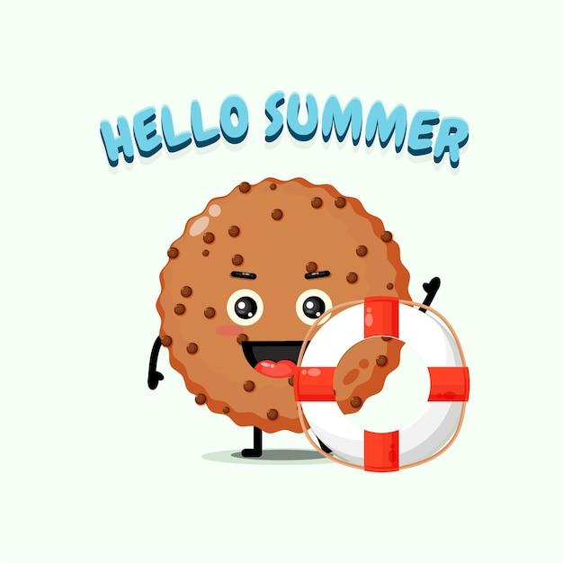 여름 인사와 함께 부유물을 들고 초콜릿 케이크 마스코트