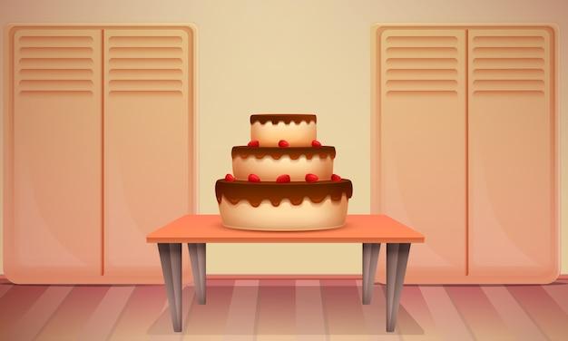 Шоколадный торт на столе в кондитерской, векторная иллюстрация