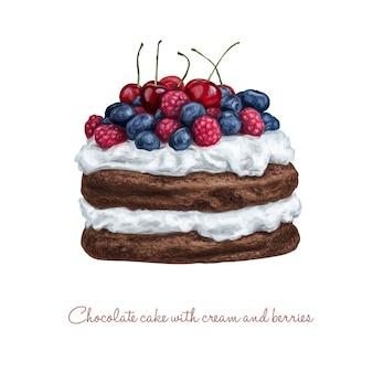 Шоколадный торт со сливками и ягодами