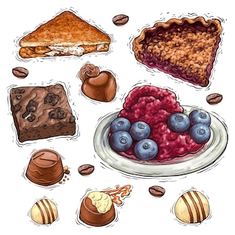 Chocolate cake with nuts and berries dessert watercolor illustration