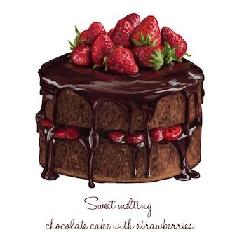 Сладкий плавления шоколадный торт с клубникой