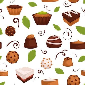 Шоколадные торты и конфеты с орехом и какао. декоративная сладкая начинка и листья, желе и печенье. магазин кондитерских десертов. бесшовный узор, фон или печать, вектор в плоском стиле
