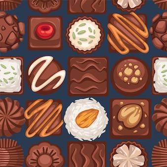 견과류 벡터가 있는 초콜릿 케이크와 사탕