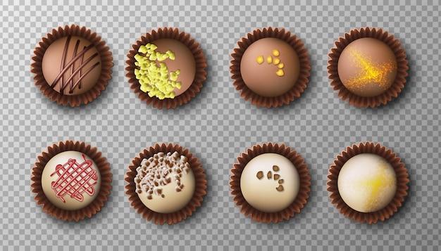 Коллекция шоколадных конфет темного и белого цвета с разными начинками. вид сверху, изолированные иконы иллюстрации.