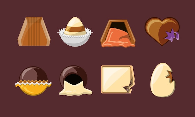 Chocolate candies icon set over brown background