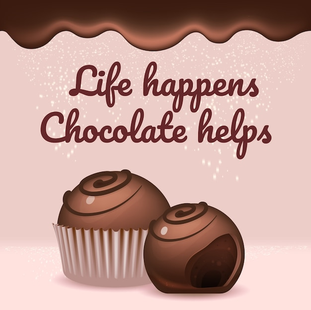 초콜릿 사탕 현실적인 제품 소셜 미디어 게시물 템플릿. 글레이즈 디저트 3d 광고 모형 디자인 텍스트. 인생은 일어나고, 초콜릿은 홍보용 사각형 웹 배너 레이아웃을 돕습니다.