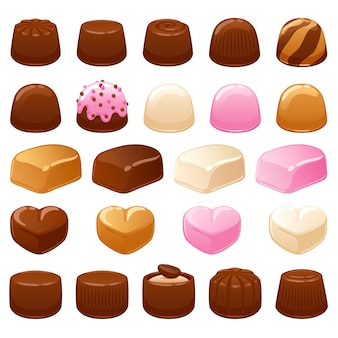 Chocolate candies set. assorted sweets.