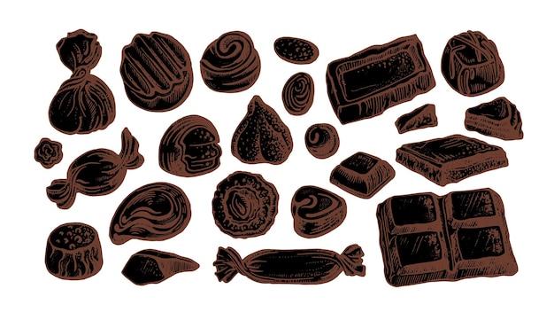 Шоколадные конфеты. набор изолированной формы. ручной обращается эскиз, натуральные сладости