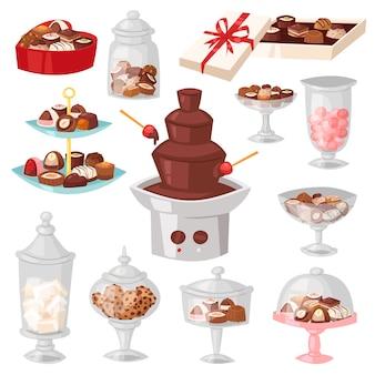 Шоколадные конфеты сладкие кондитерские изделия десерт с какао в стеклянной банке в кондитерской иллюстрации магазина