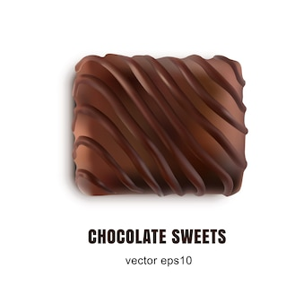 Вид сверху шоколадные конфеты изолированные