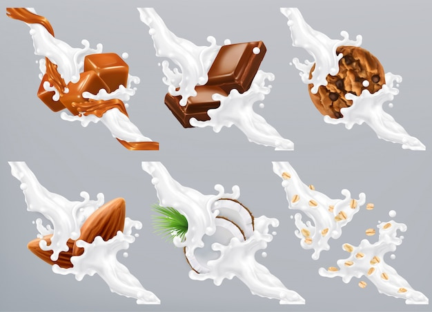 Chocolate, caramel, coconut, almond, biscuit, oats in milk splash. yogurt 3d realistic