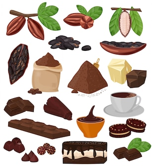 Chocolate cartoon cocoa choco sweet food from coco-beans cake confection illustration set of tropical fruit and cacao powder for beverage and biscuit isolated on white background
