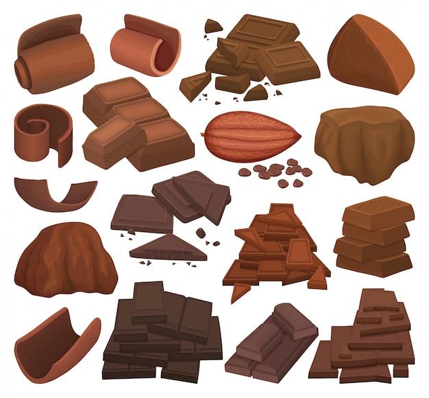 Шоколадный мультфильм установить значок. какао-бар иллюстрации на белой предпосылке. изолированный мультфильм набор значок шоколад.