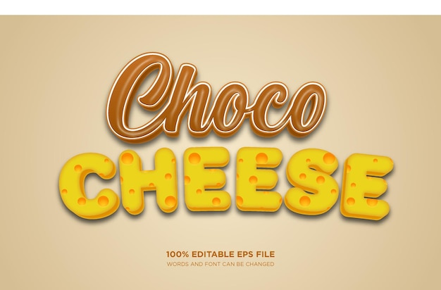Chocolate cheese 3d editable text style effect
