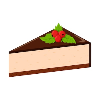 딸기와 민트 잎을 가진 초콜릿 치즈 케이크