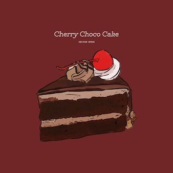 Chocolate cherry cake, hand draw sketch vector.
