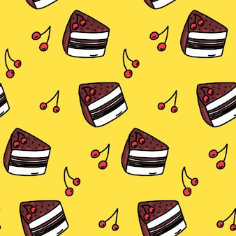 Chocolate cherry cake pattern seamless background cute handdrawn desserts on yellow cafe texture