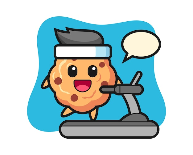 Chocolate chip cookie cartoon character walking on the treadmill