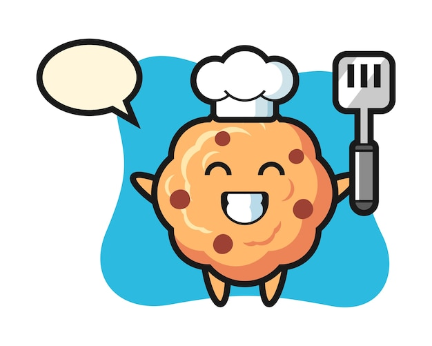 Chocolate chip cookie character as a chef is cooking