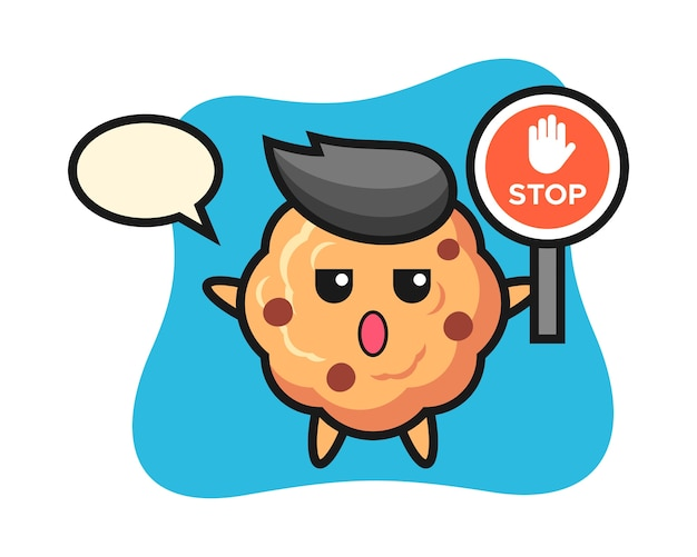 Chocolate chip cookie character holding a stop sign