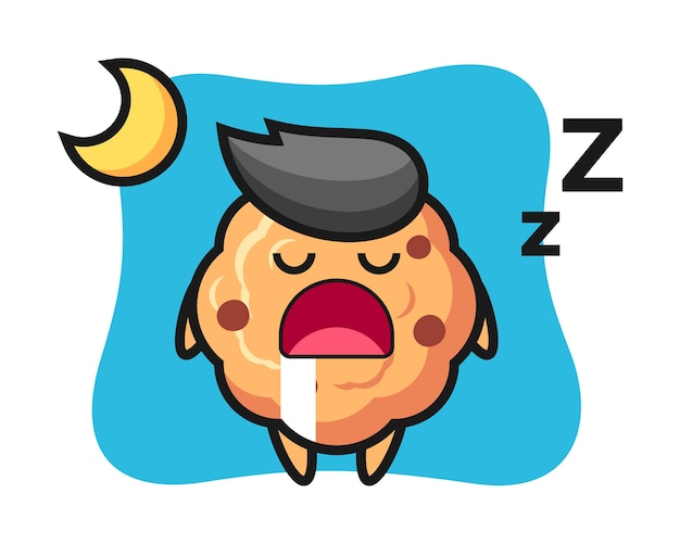 Chocolate chip cookie character sleeping at night