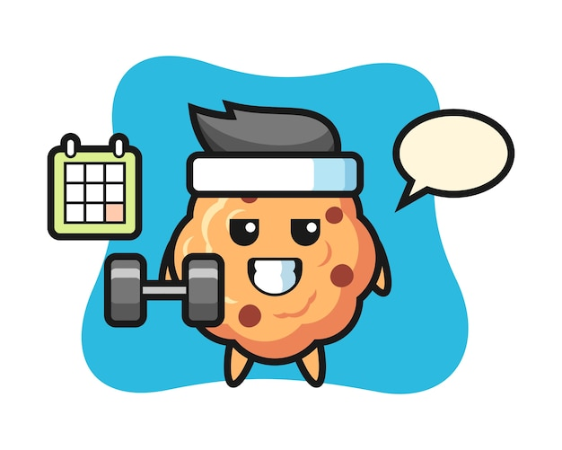 Chocolate chip cookie mascot cartoon doing fitness with dumbbell