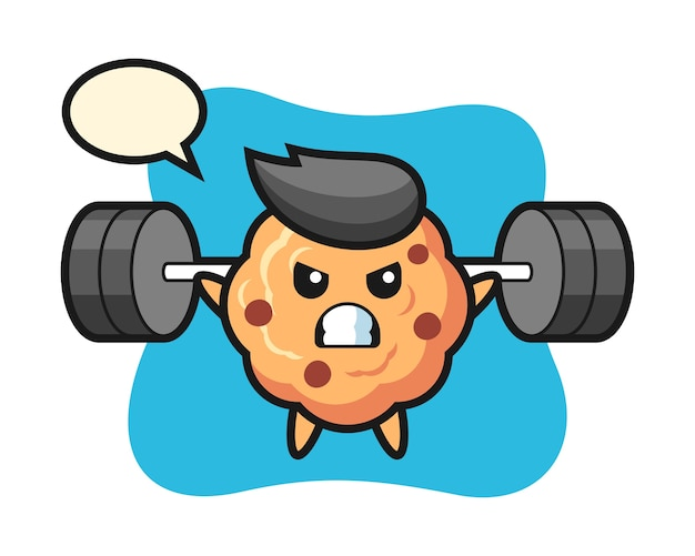Chocolate chip cookie mascot cartoon with a barbell