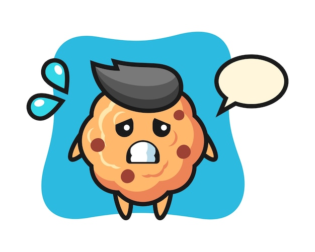 Chocolate chip cookie mascot character with afraid gesture