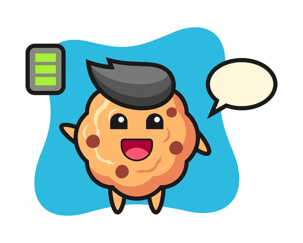 Chocolate chip cookie mascot character with energetic gesture