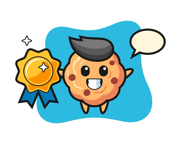 Chocolate chip cookie mascot holding a golden badge
