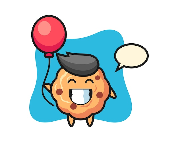 Chocolate chip cookie mascot is playing balloon