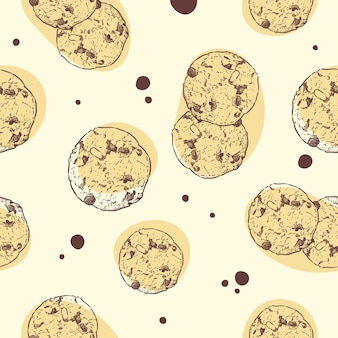 Chocolate chip cookie, seamless pattern.