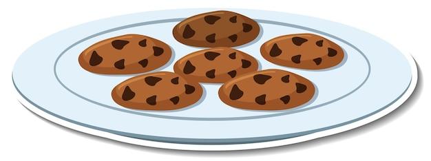 Шоколадное печенье в пластине наклейка на белом фоне