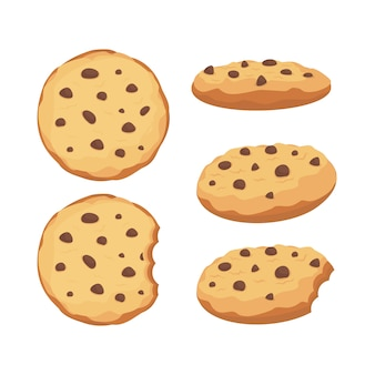 Chocolate chips cookies  set illustration