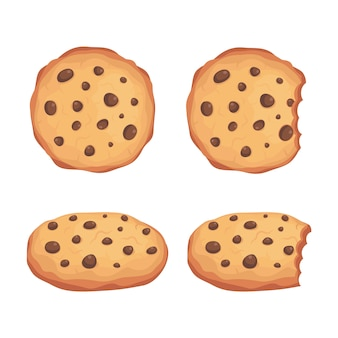 Chocolate chips cookies vector set illustration