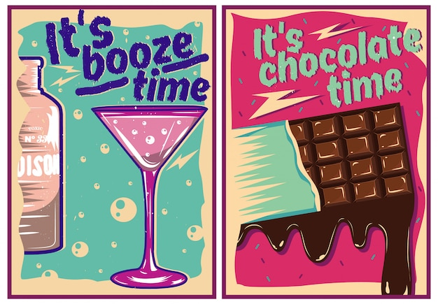 Chocolate and cocktail posters in vintage style