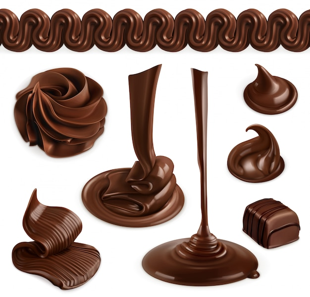 Chocolate, cocoa butter, whipped cream, pastry and desserts, vector objects
