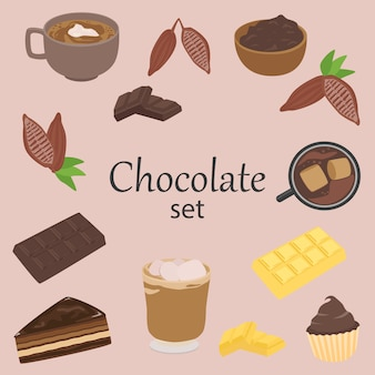Chocolate and cocoa elements, isolated vector set, cartoon style design.