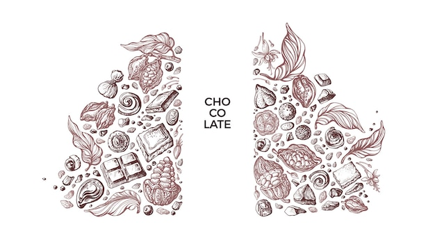 Chocolate and cocoa template art sketch of fruit bean candy aroma cacao powder vintage graphic
