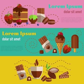Set di banner vintage retrò di cioccolato e caffè, dolci e torte