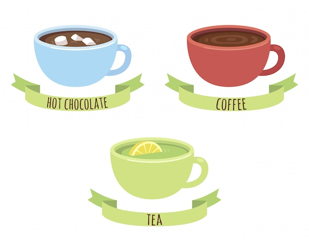 Chocolate, coffee and tea mugs