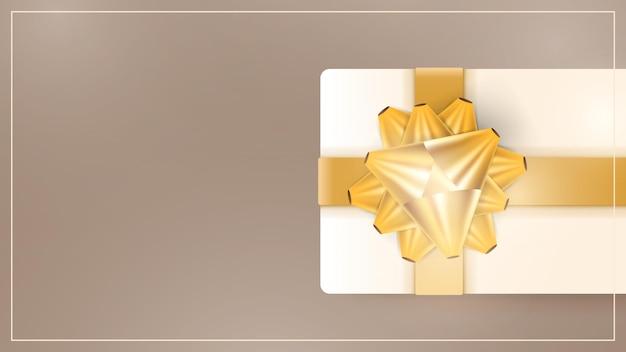 Шоколадный фон с реалистичными подарочными коробками цвета шампанского, золотыми лентами и бантом. фон с пространством для текста. векторная иллюстрация.