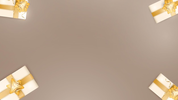 Шоколадный фон с реалистичными подарочными коробками цвета шампанского, золотыми лентами и бантом. фон с пространством для текста. вид сверху. векторная иллюстрация.