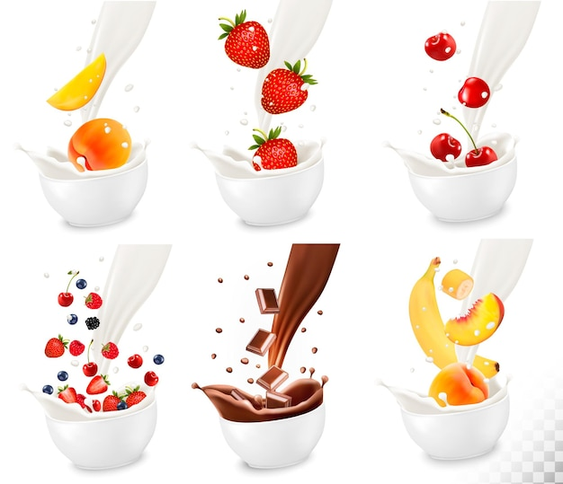 Chocolate and colorful fresh fruit falling into the milky splash on transparent background.. vector illustration