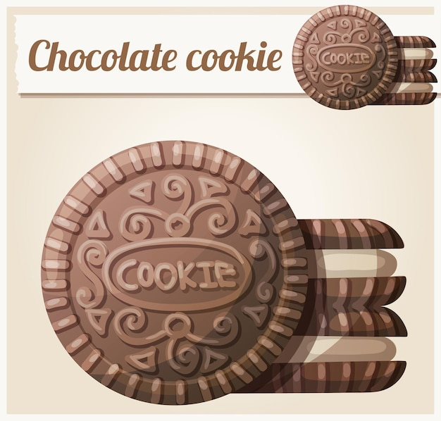 Chocolate cookie  detailed vector icon