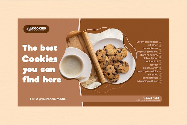 Chocolate cookies banner template