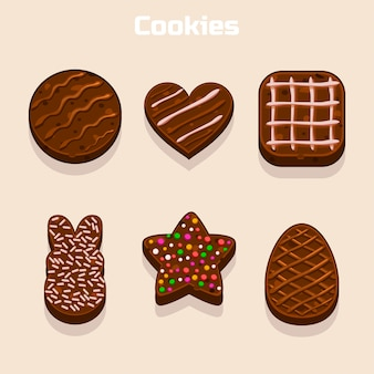 Chocolate cookies in different shapes set