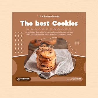 Chocolate cookies flyer square